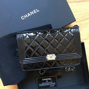 acbad03409bda5 Chanel wallet on chain boy woc patent